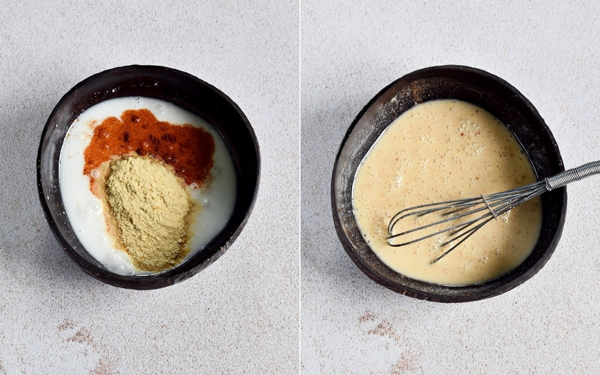 2 step-by-step photos how to make a coconut curry sauce