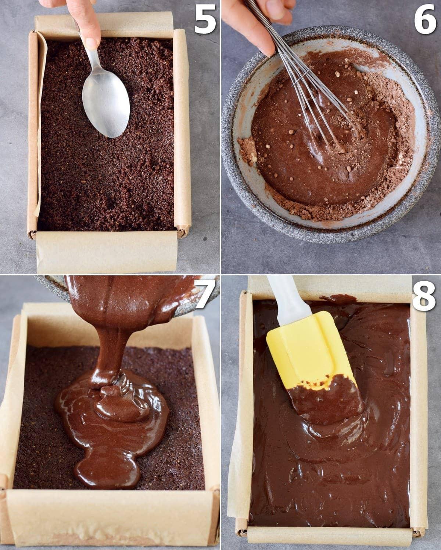 4 Schritt-für-Schritt-Fotos von der Herstellung von Brownie-Ganache