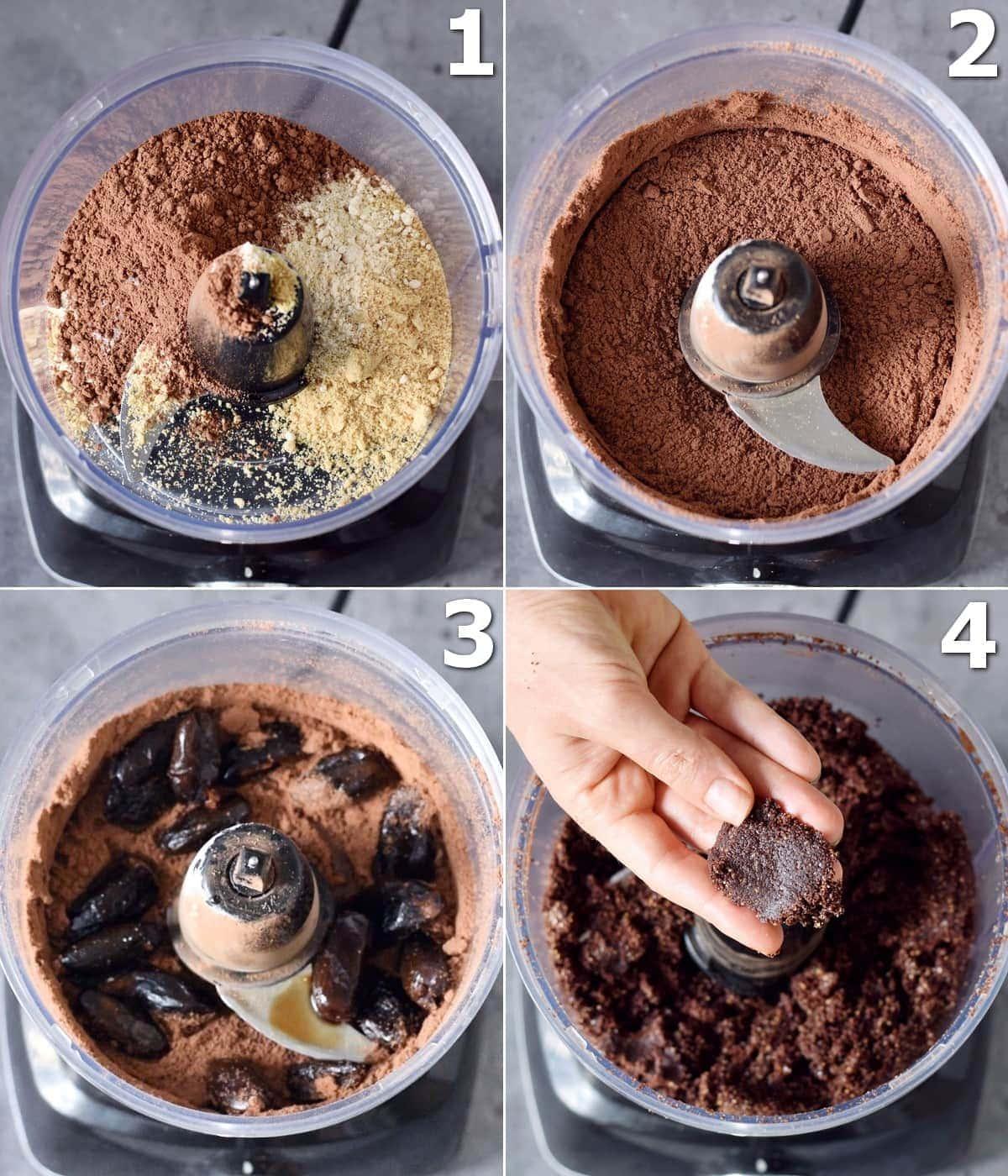 4 Schritt-für-Schritt-Fotos, wie man rohen Brownie-Teig herstellt
