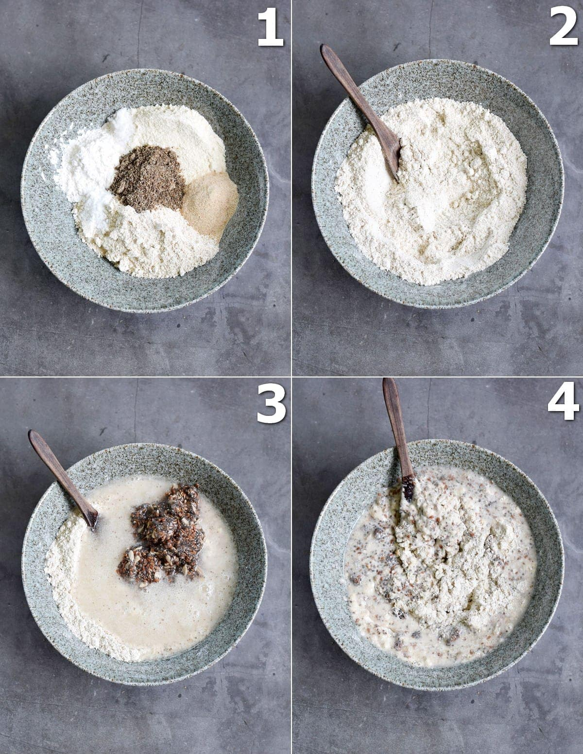 4 step-by-step photos how to mix dough for brotchen