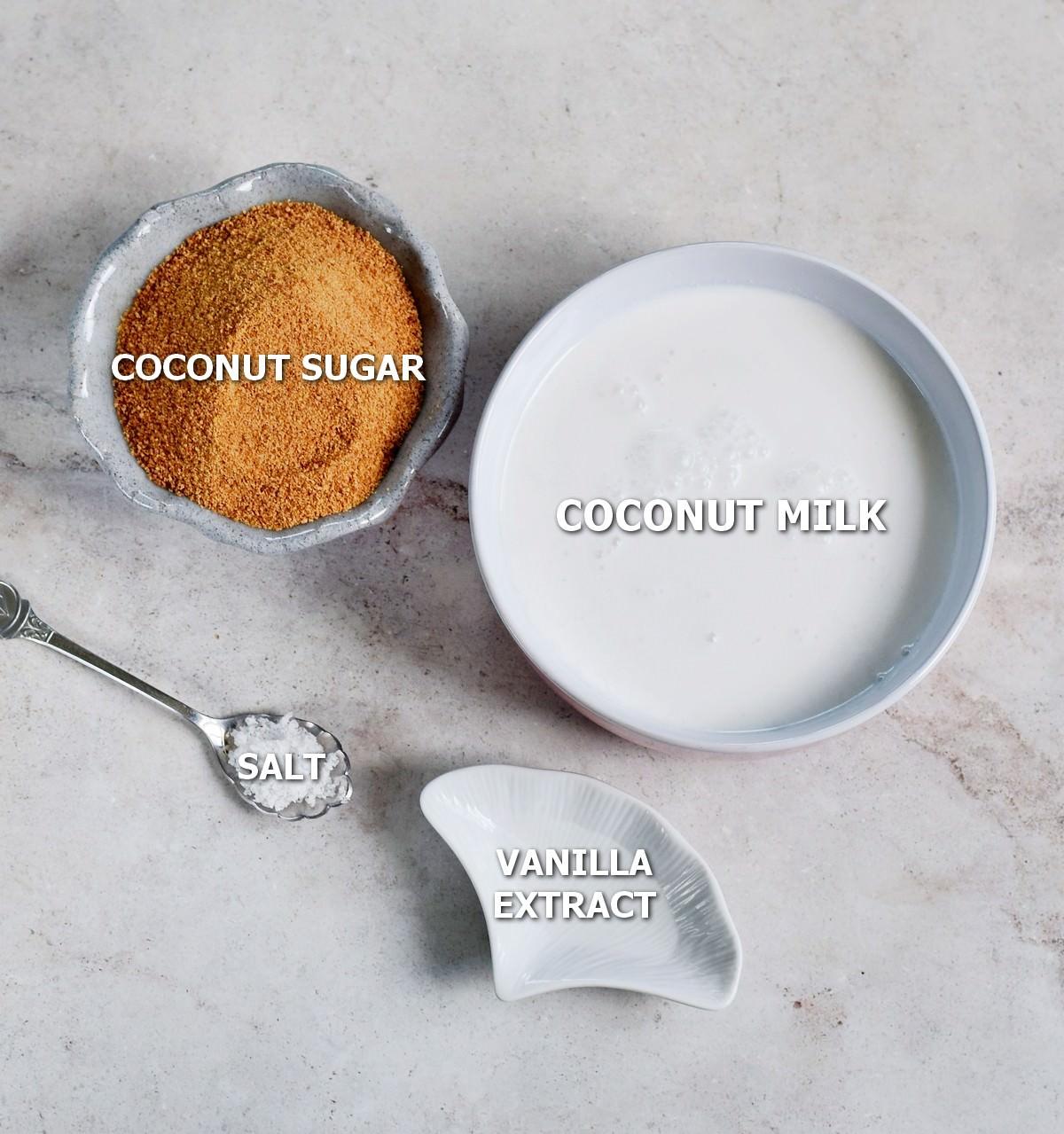 Ingredients for dairy-free caramel