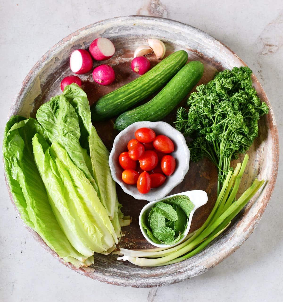 Zutaten für libanesischen Salat