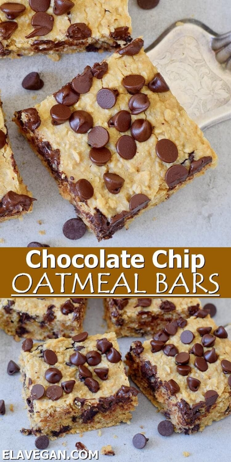 Pinterest collage Chocolate Chip Oatmeal Bars