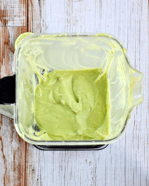 avocado tahini lime dressing in blender
