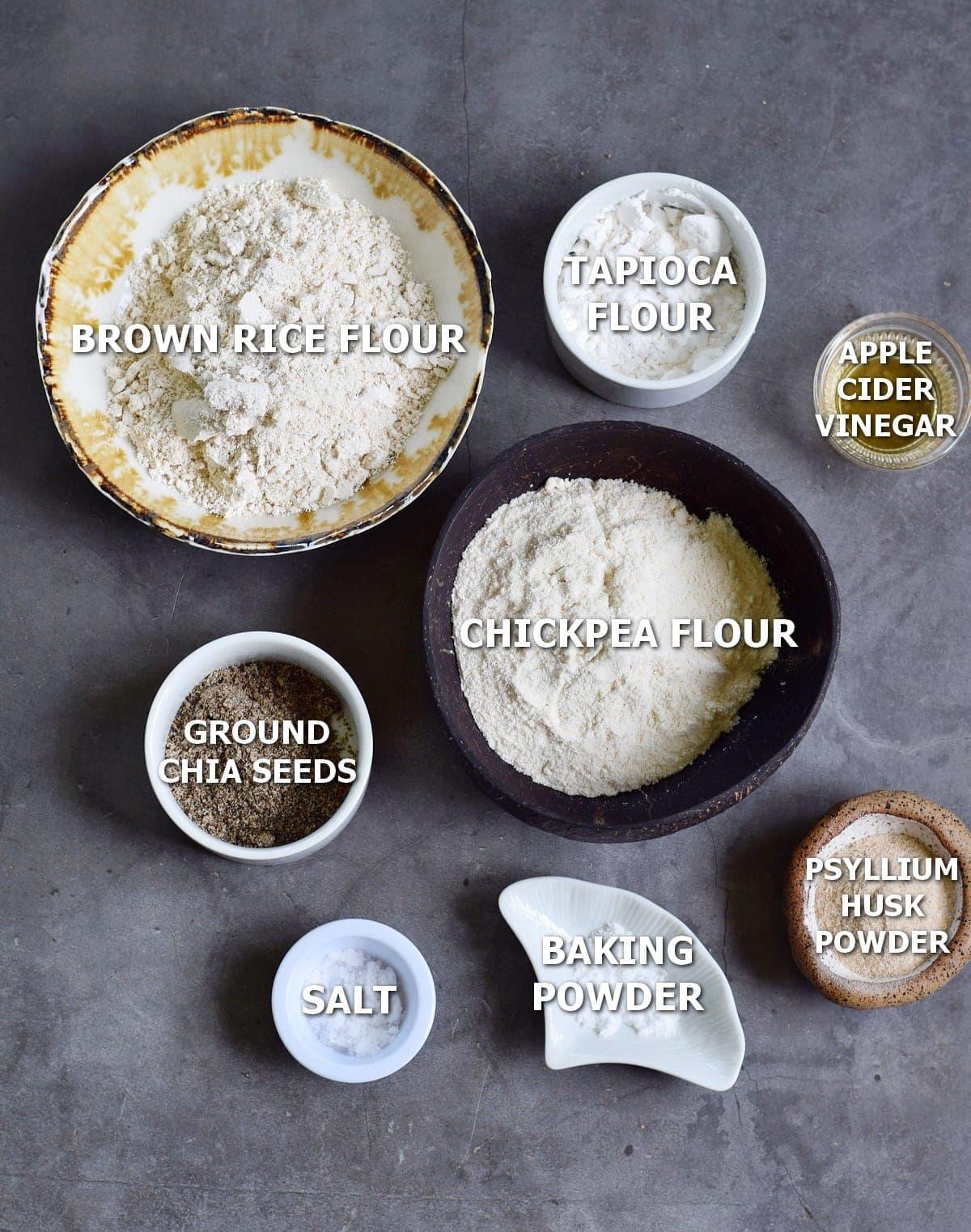 ingredients for bread rolls