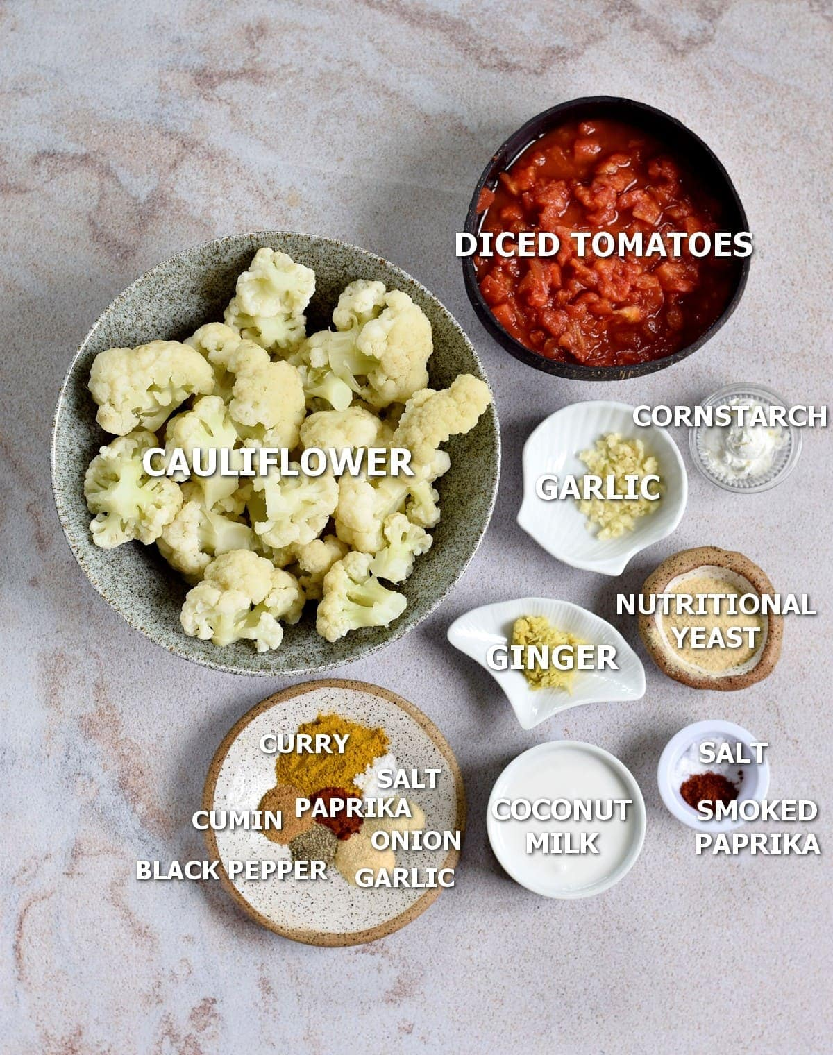 ingredients of cauli curry