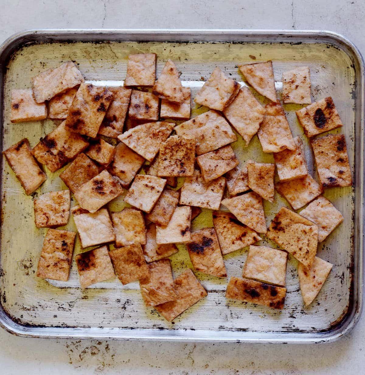 Pita-Chips auf Backblech