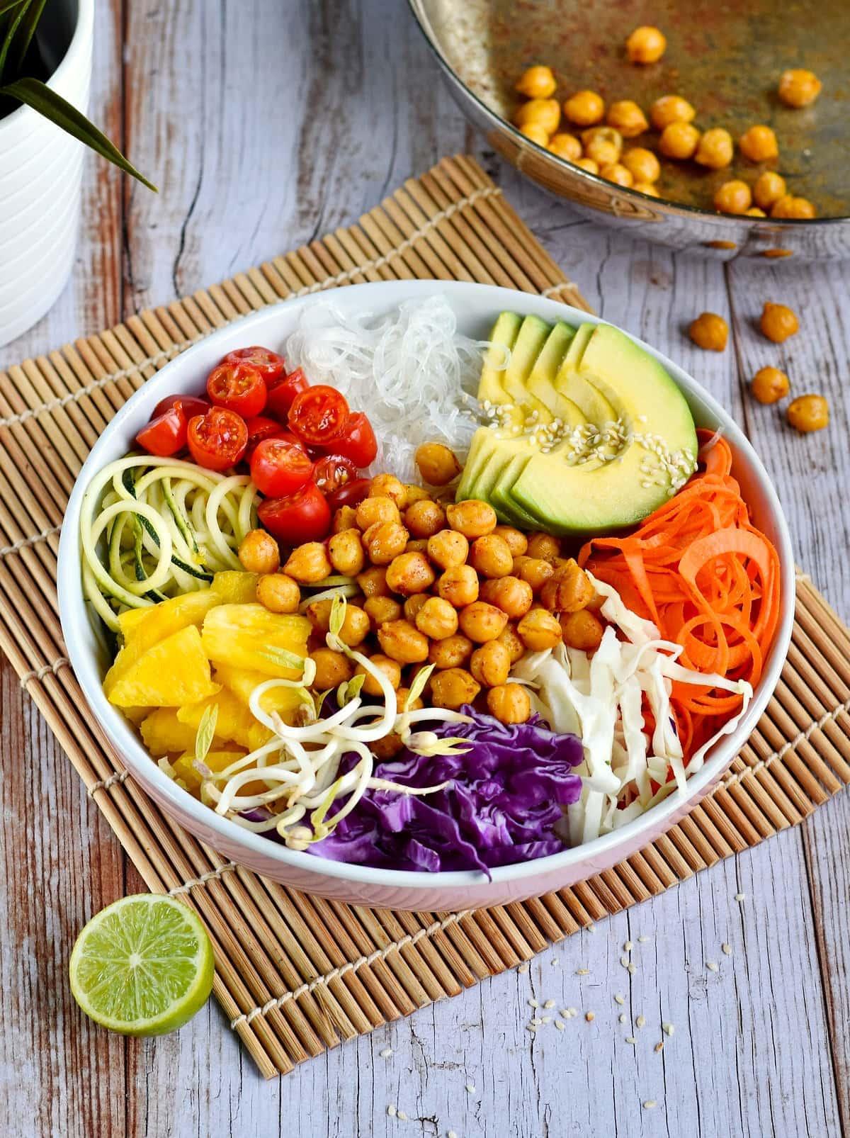 vegan buddha bowl with chickpeas avocado and colorful veggies