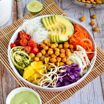 vegan buddha bowl with chickpeas avocado colorful veggies and green dressing on the side