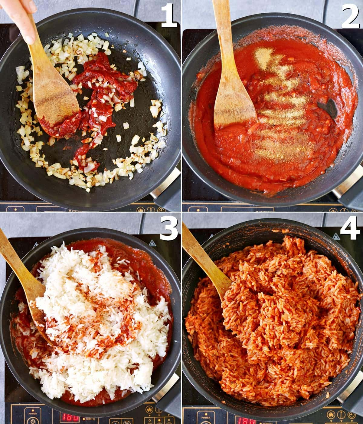 4 step-by-step-photos how to cook tomato rice in a skillet