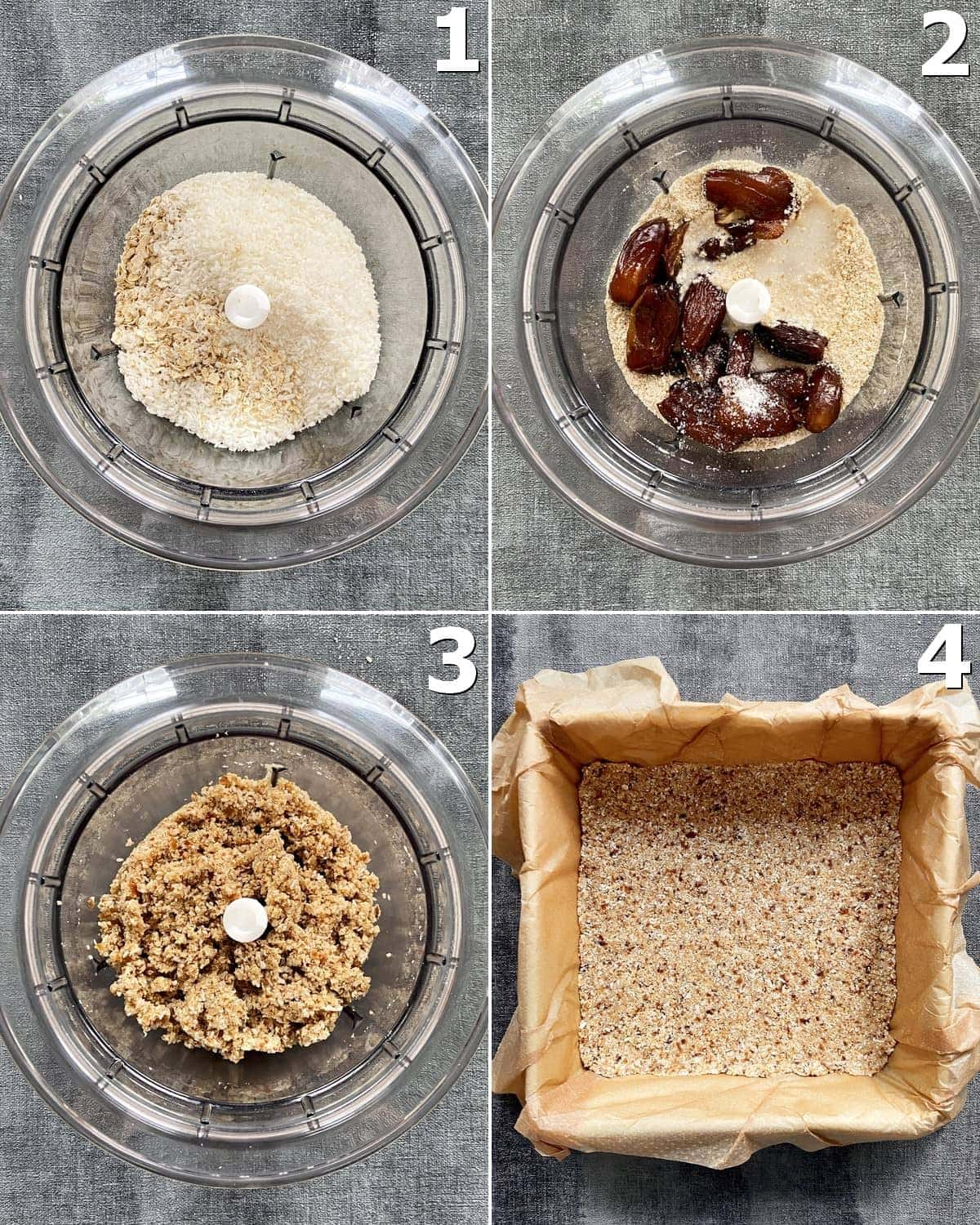 4 step-by-step photos how to make a gluten-free crust
