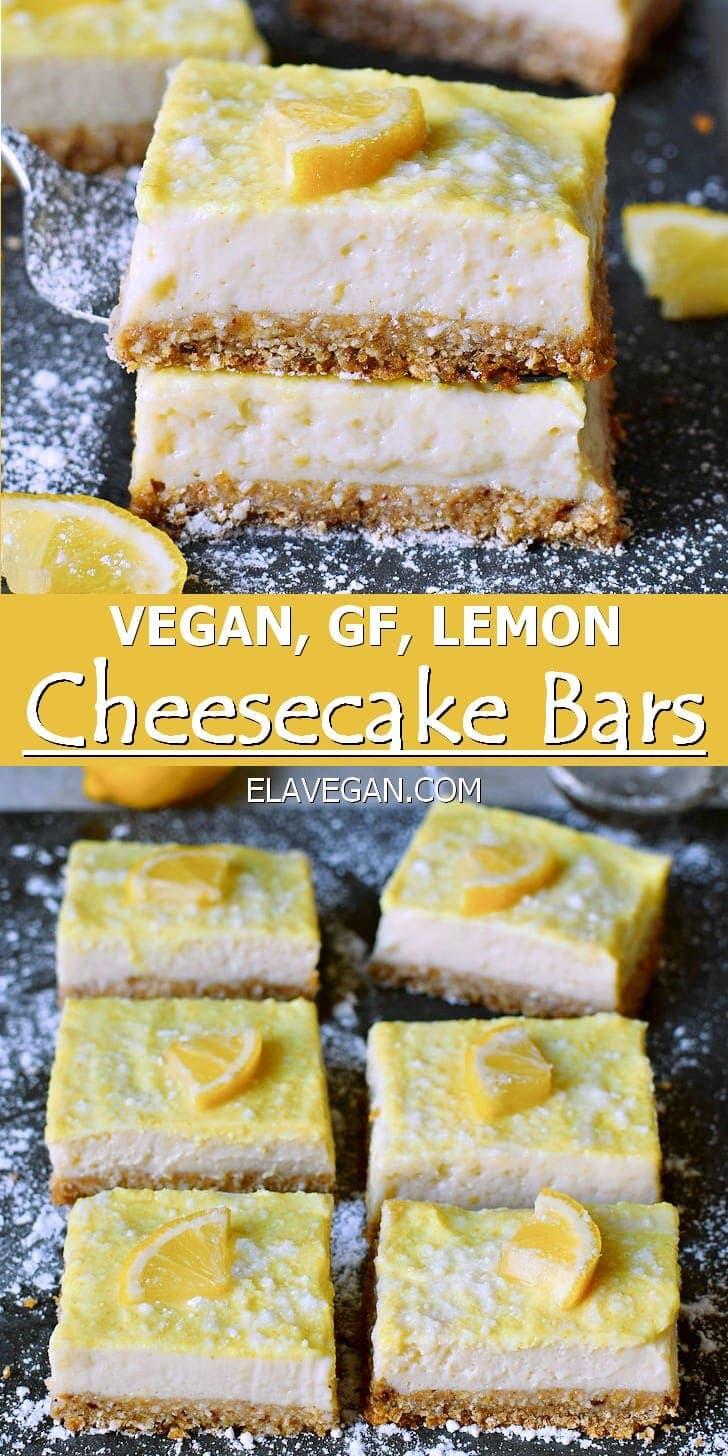 Vegan, Gluten-Free Lemon Cheesecake Bars
