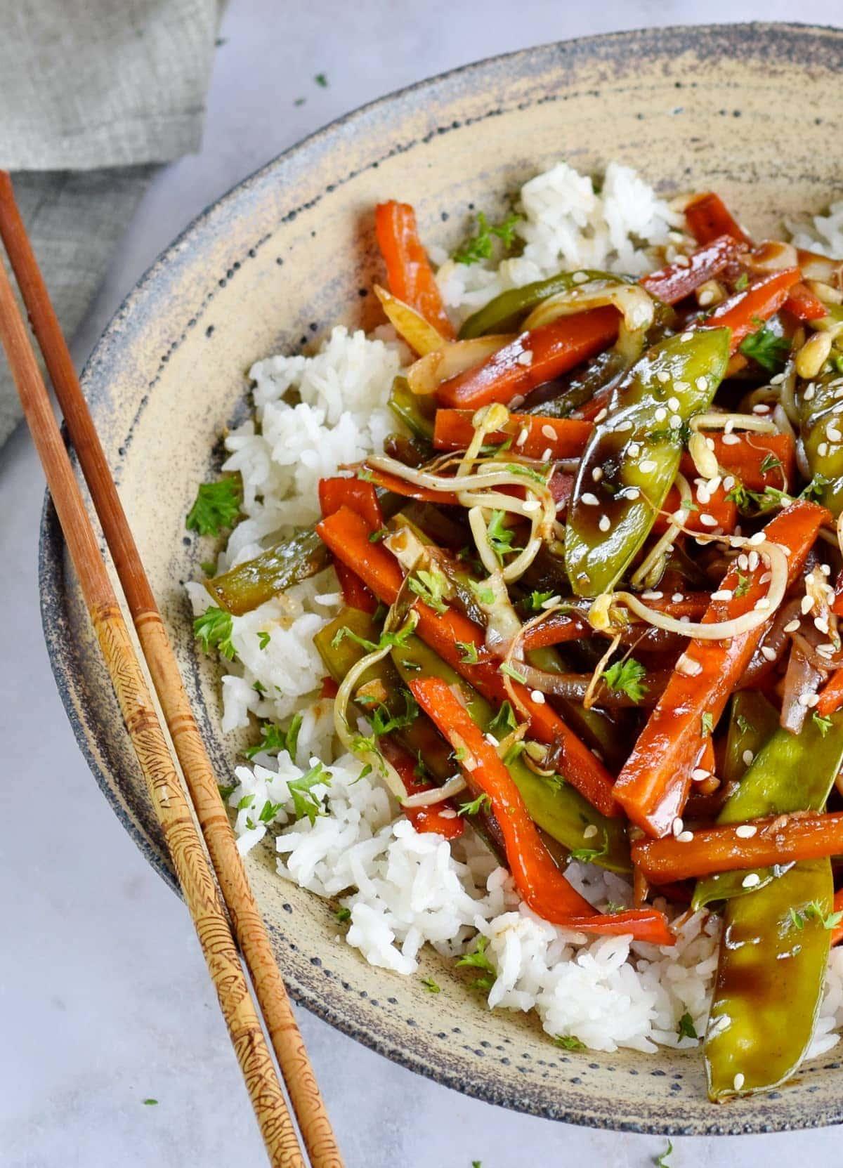 Nahaufnahme von Gemüse Chop Suey