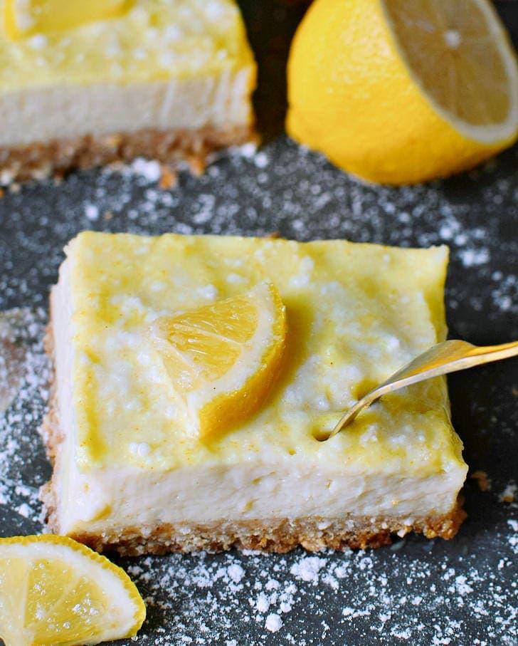 fork submerged in a gluten-free lemon slice