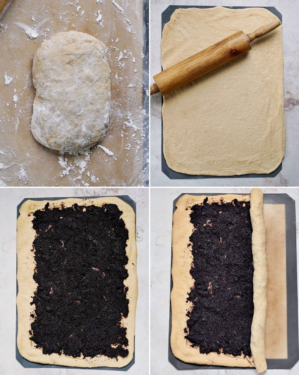 how to roll out and fill yeast dough with poppy seeds