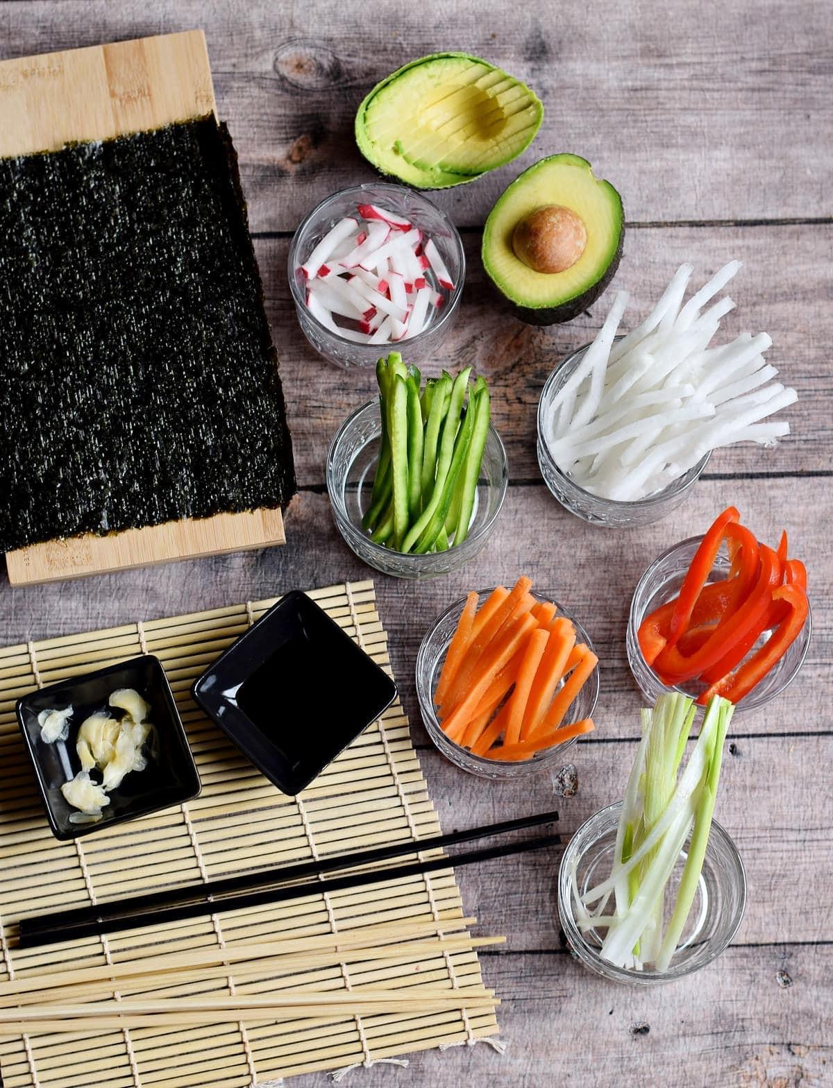 ingredients for veggie makizushi