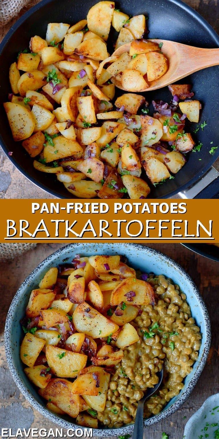 pinterest collage of pan-fried potatoes (bratkartoffeln)