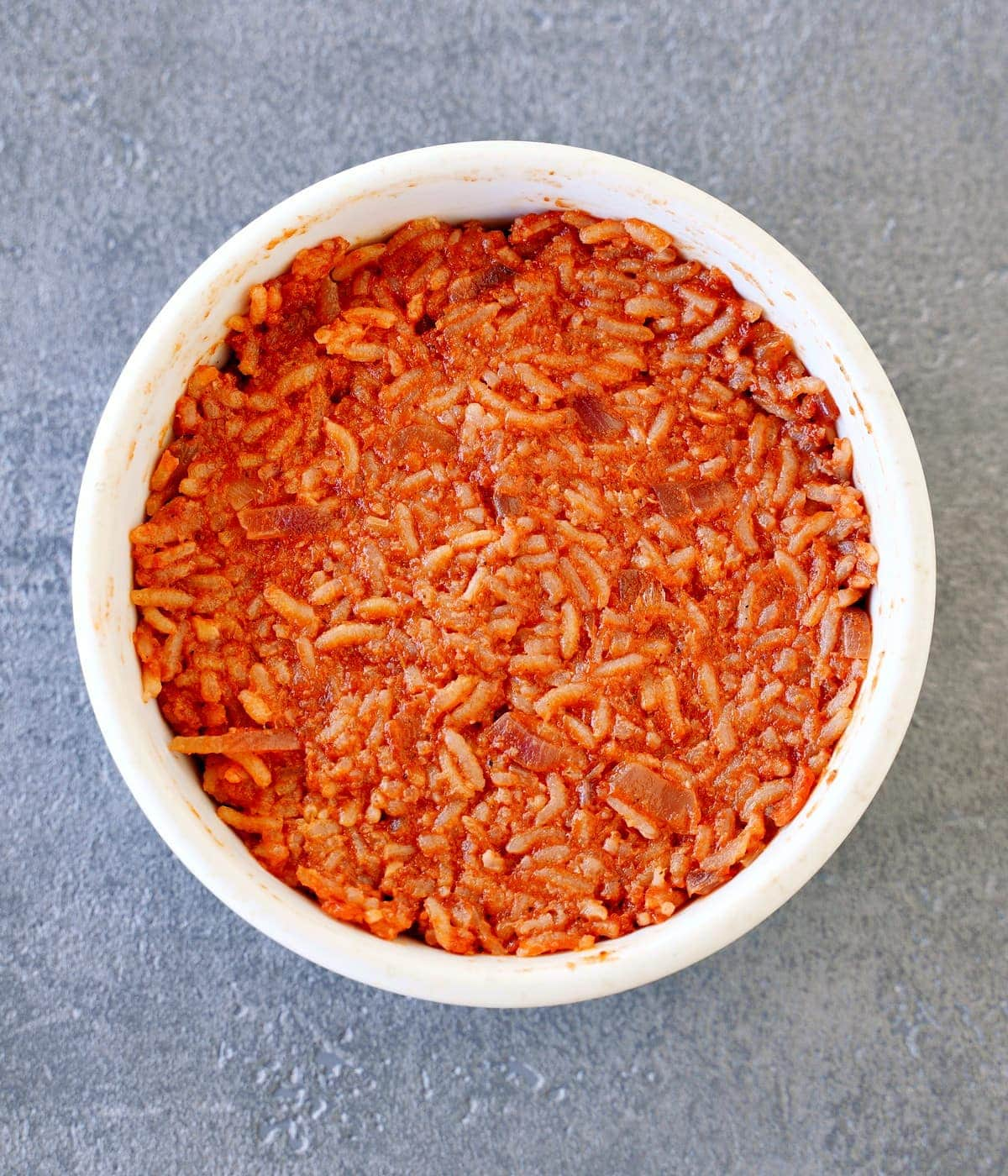 red rice in white bowl from above