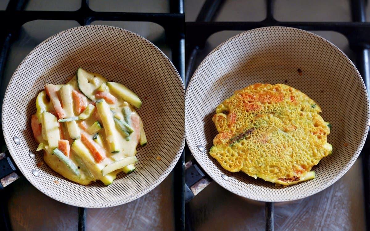 savory pancake with veggies in pan
