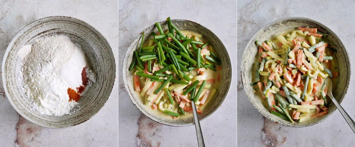 savory scallion pancake batter in bowl