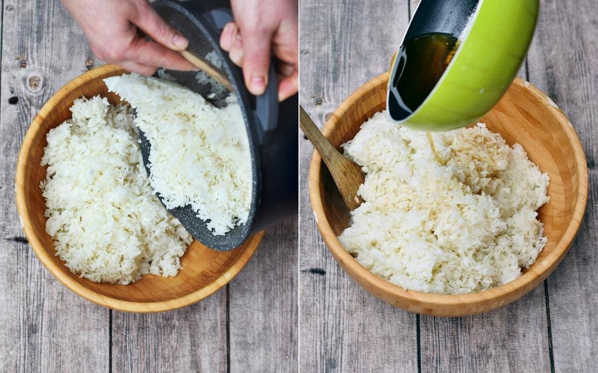 short grain rice in bamboo bowl with rice vinegar