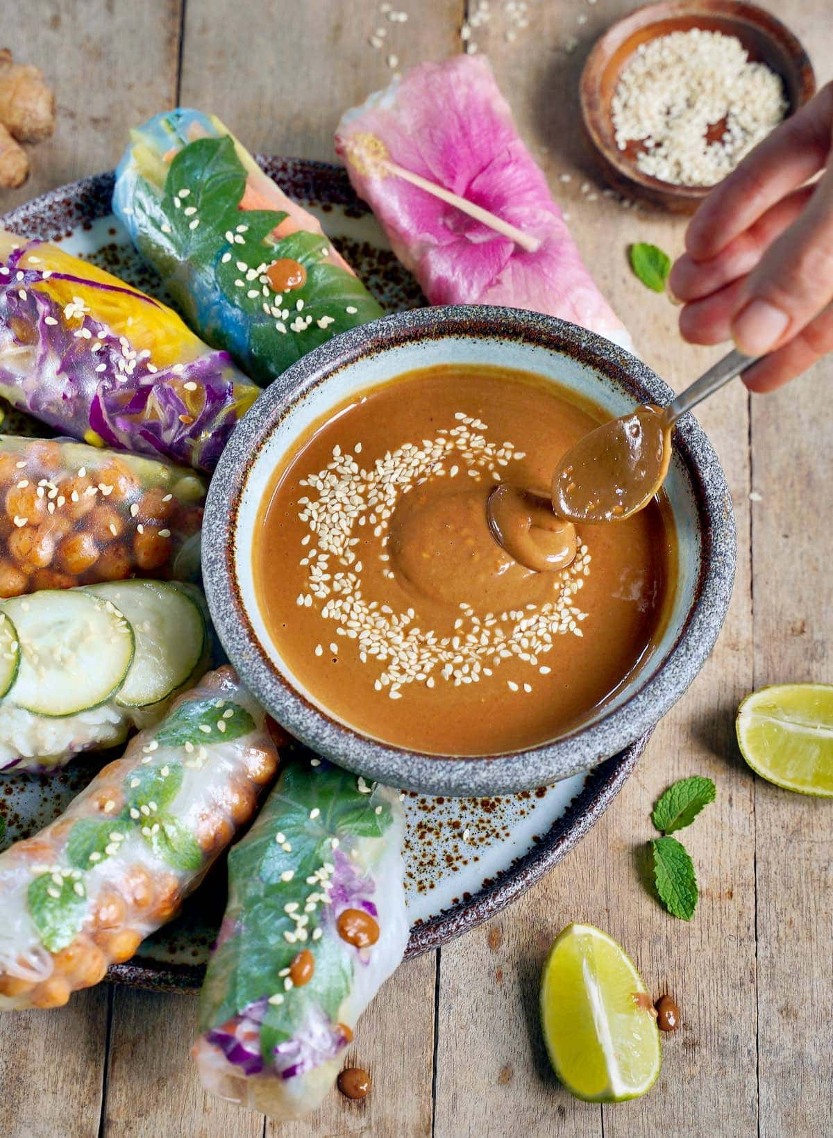 summer rolls with PB dip and spoon