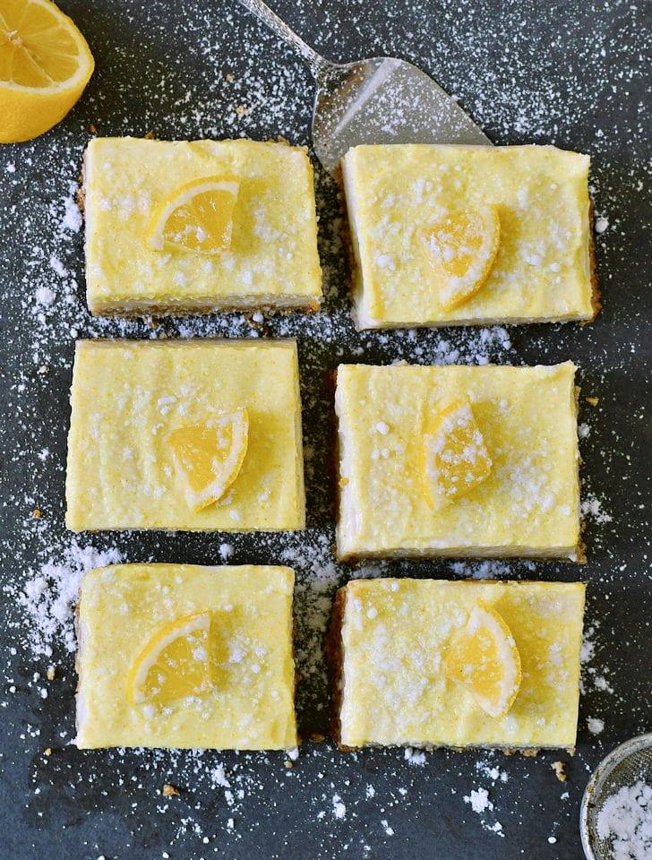 6 vegan lemon bars recipe with lemon slices from above