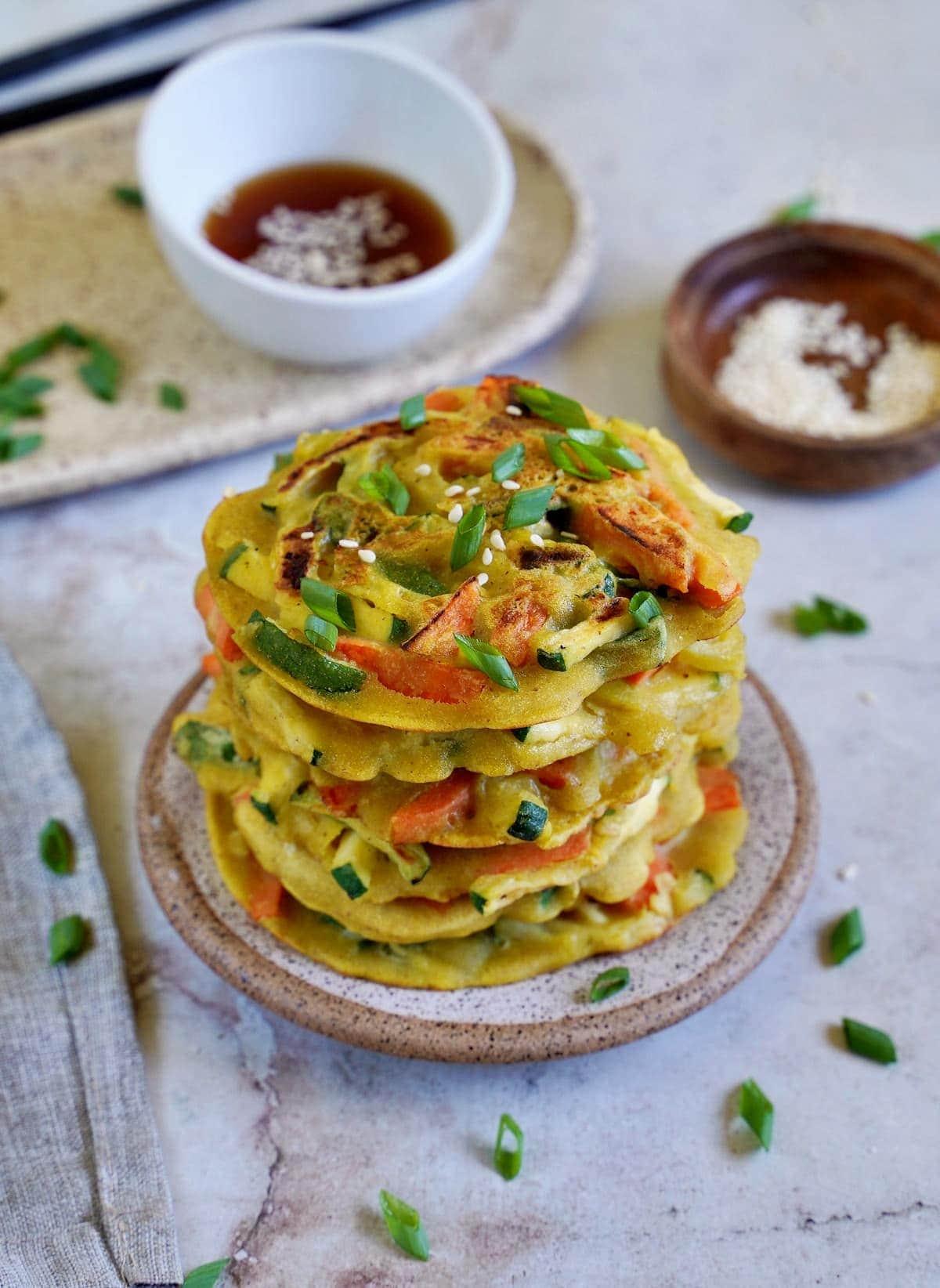 veggie pajeon stack on plate