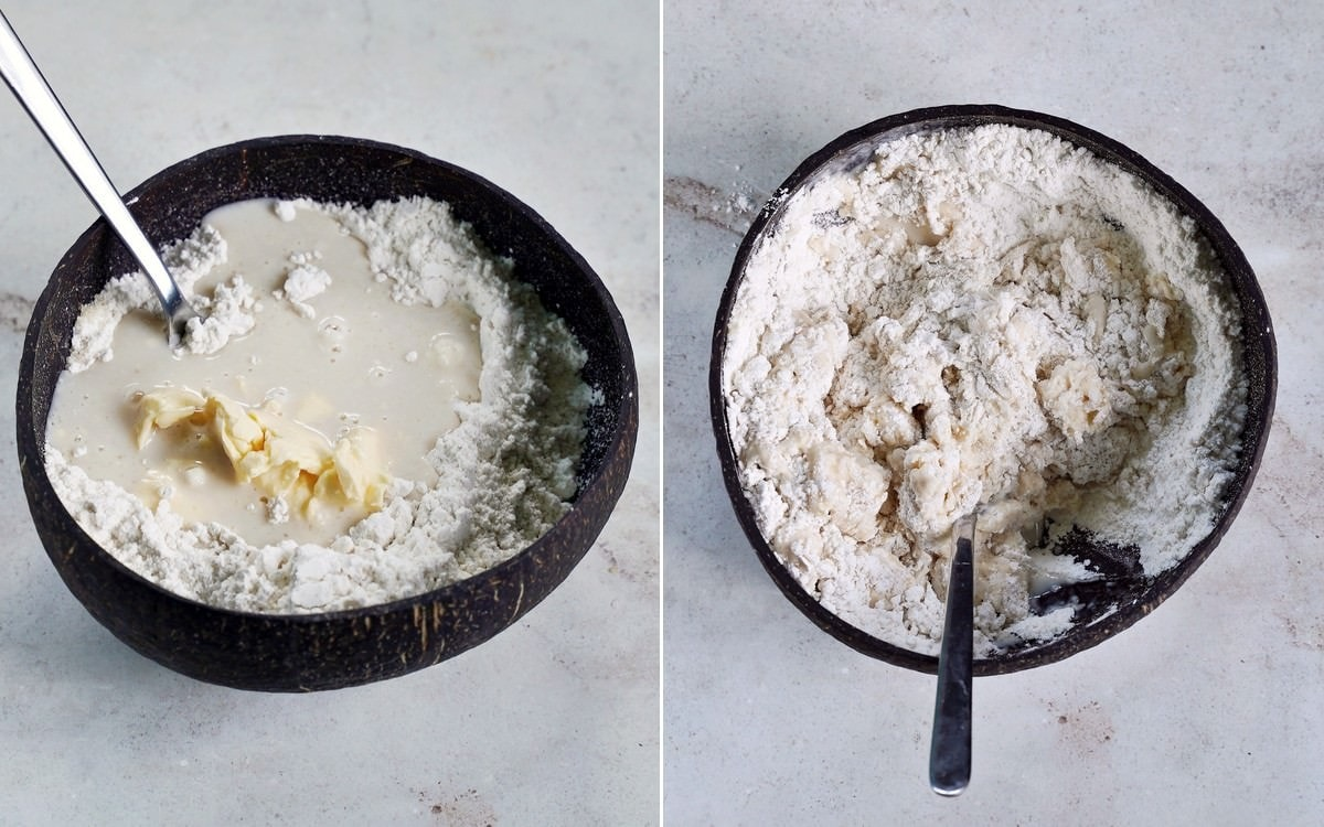 yeast dough in bowl with spoon
