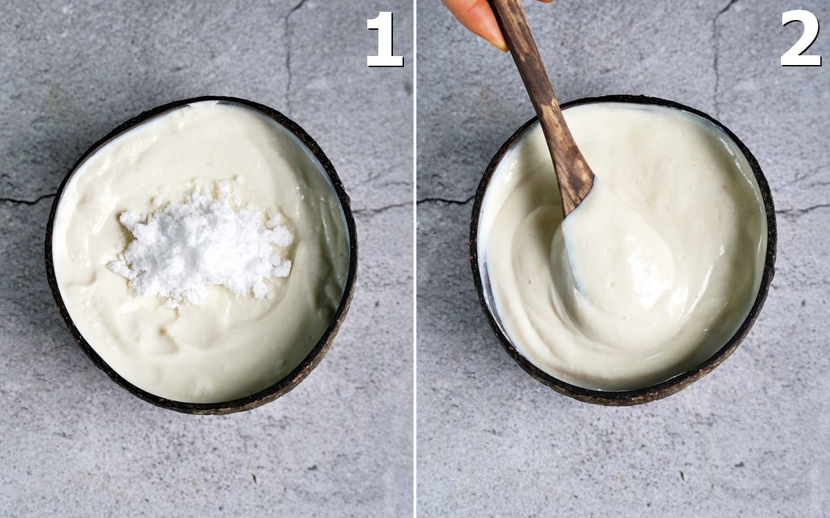 2 photos of dairy-free yogurt in a bowl with icing sugar