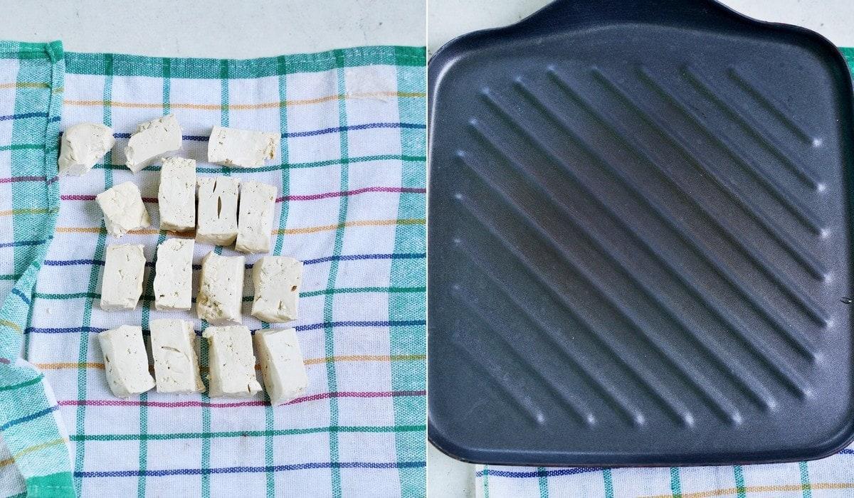 2 Fotos mit Schritt-für-Schritt-Anleitung zum Pressen von Tofu