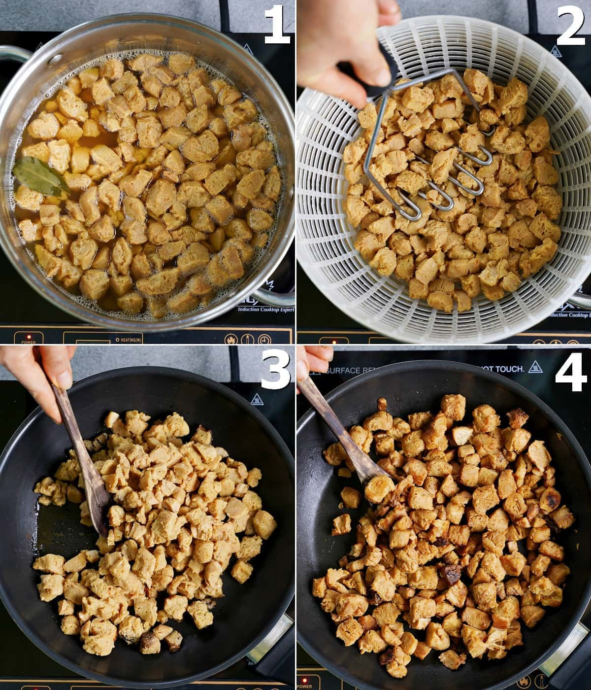 4 step-by-step photos how to cook textured soy protein chunks