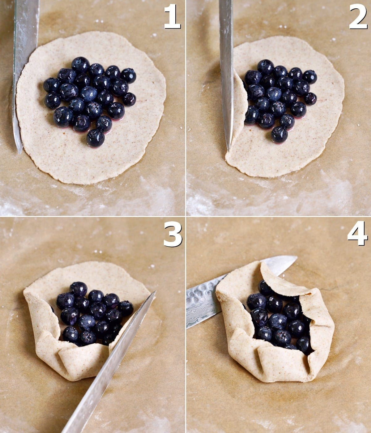 4 step-by-step photos how to fold a vegan gluten-free galette