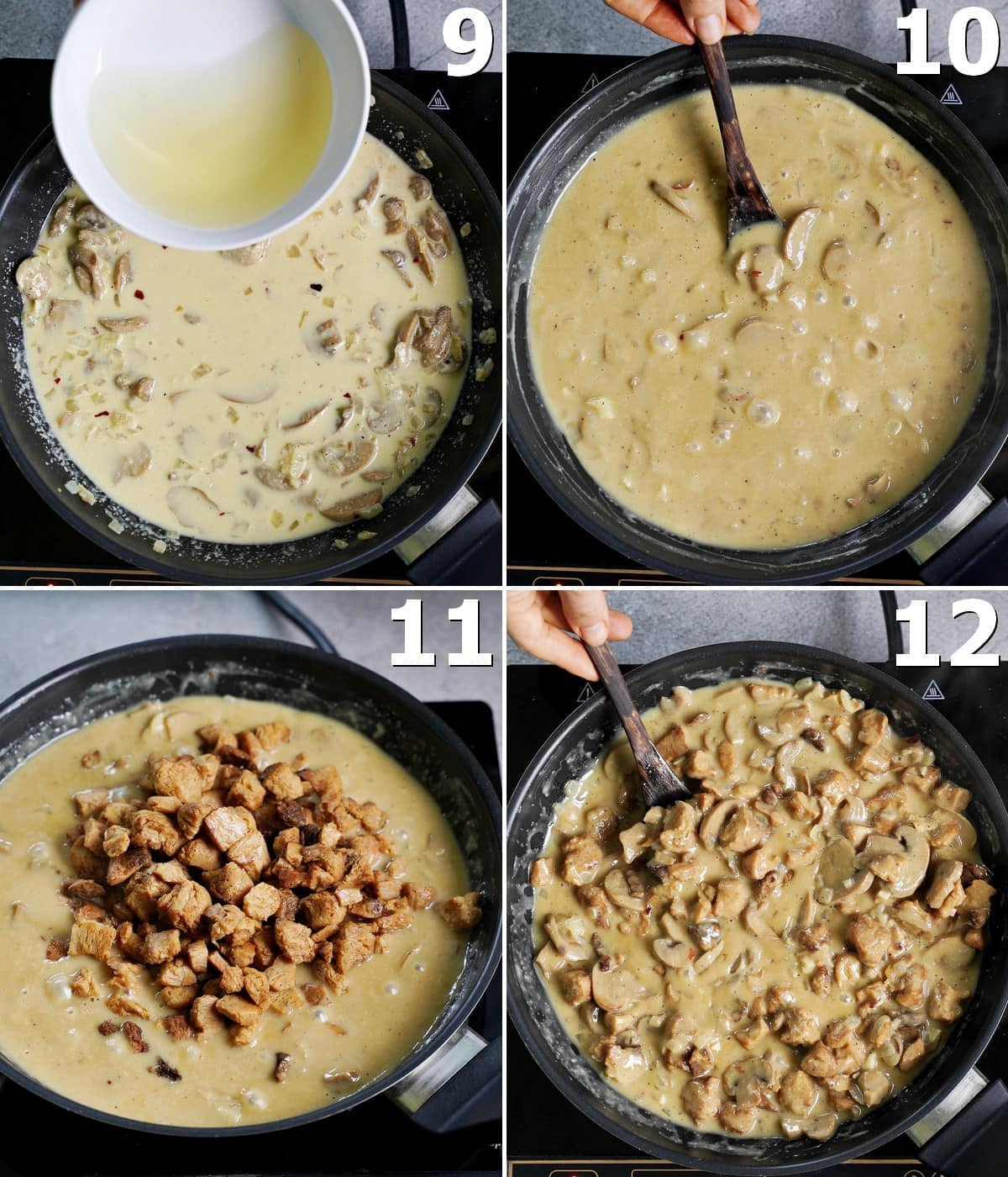 4 step-by-step photos how to make a creamy sauce with mushrooms and soy curls