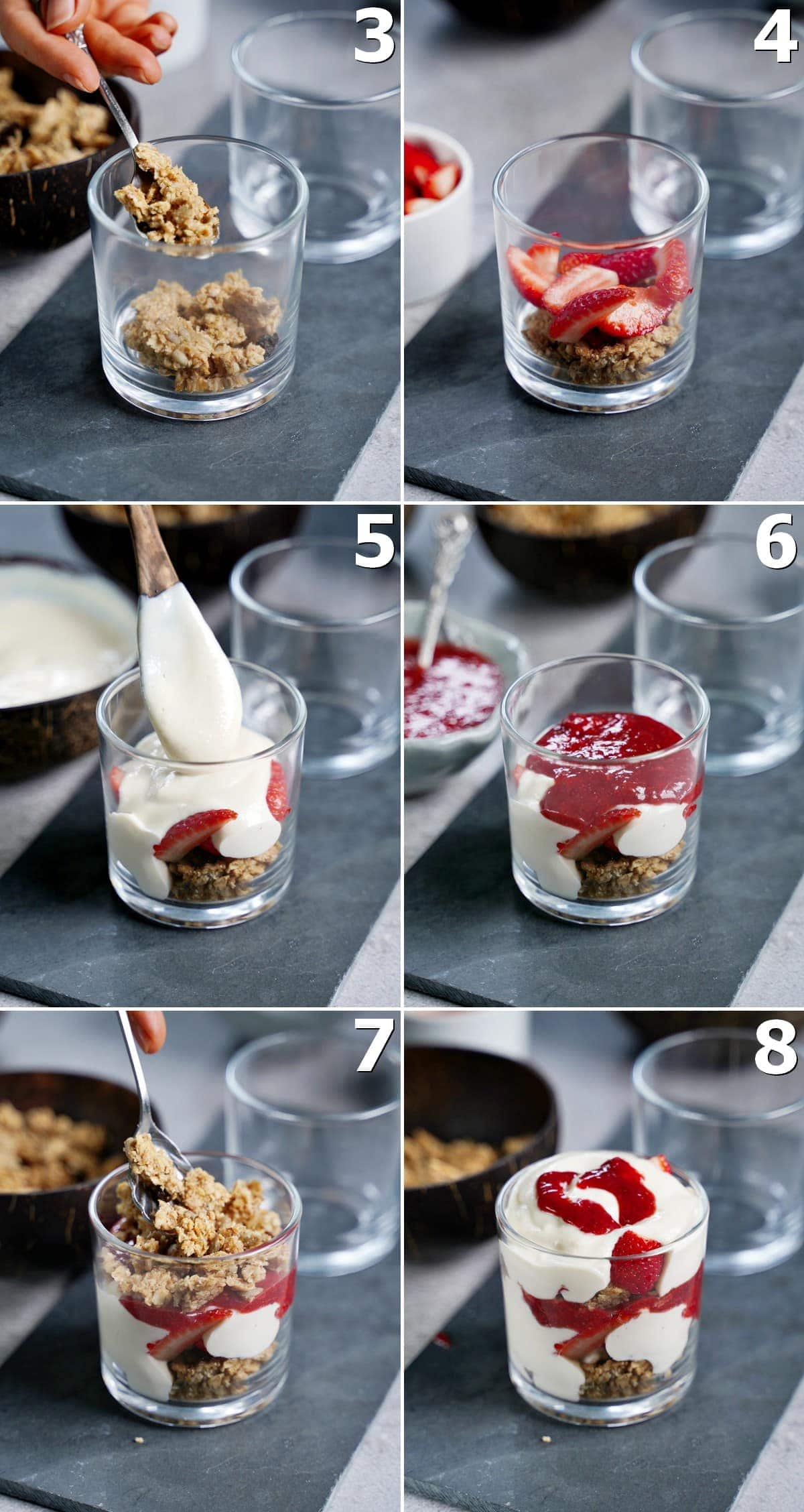 6 step-by-step-photos how to layer a fruit dessert in a jar
