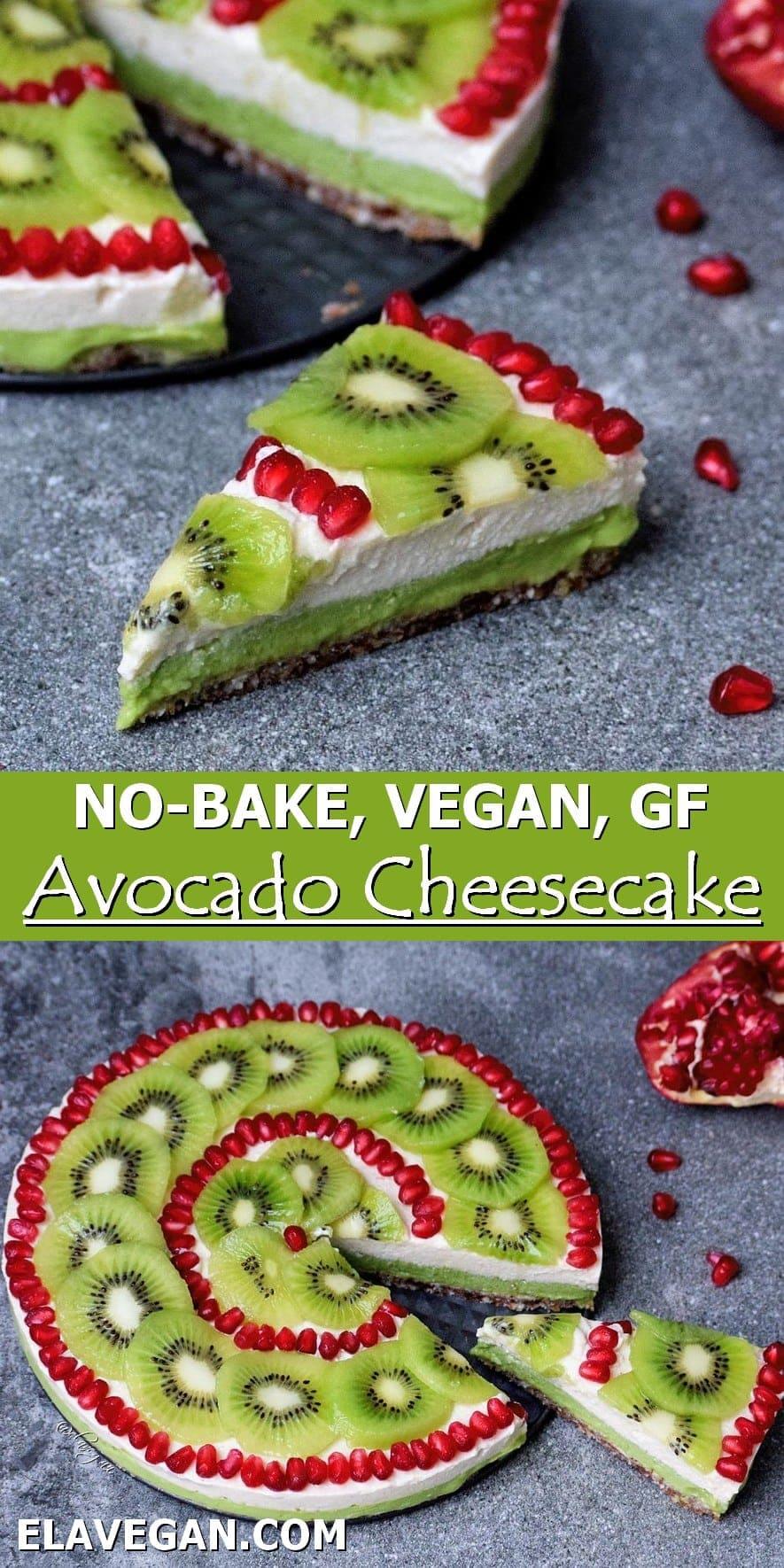 Collage of no-bake vegan avo cheese cake