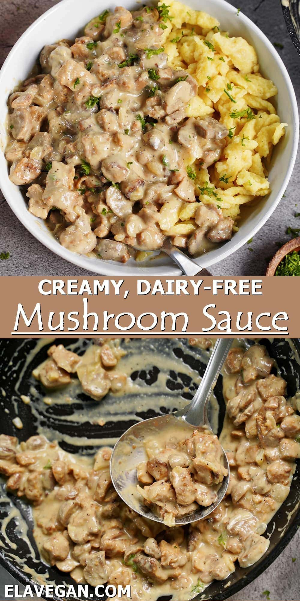 Pinterest Collage creamy dairy-free mushroom sauce
