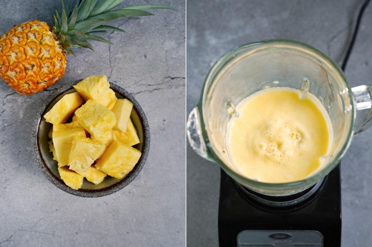 frische Ananasstücke vor und nach dem Pürieren