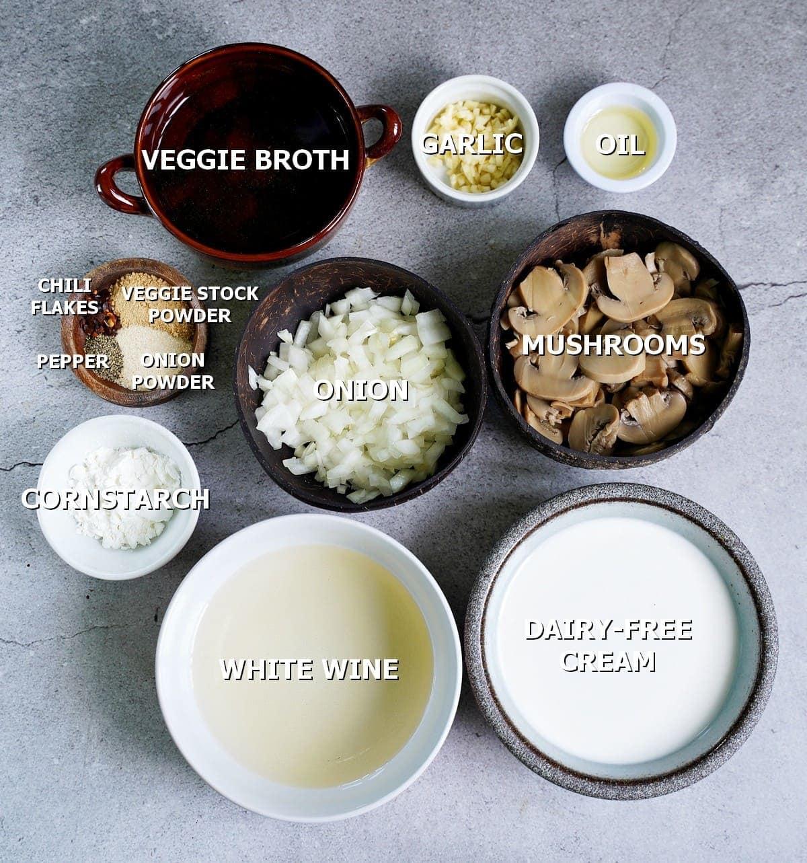 ingredients for creamy mushroom sauce