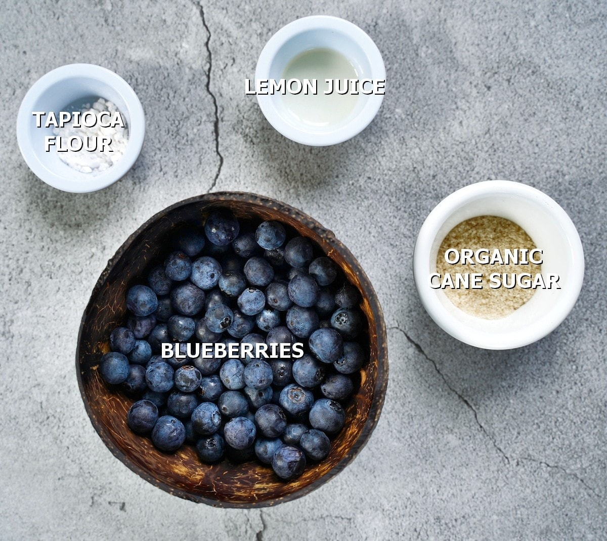 ingredients for filling with blueberries