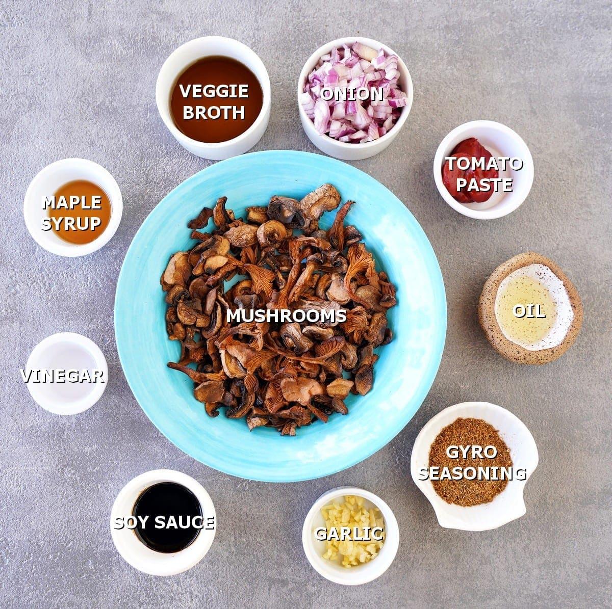 ingredients for vegetarian gyro