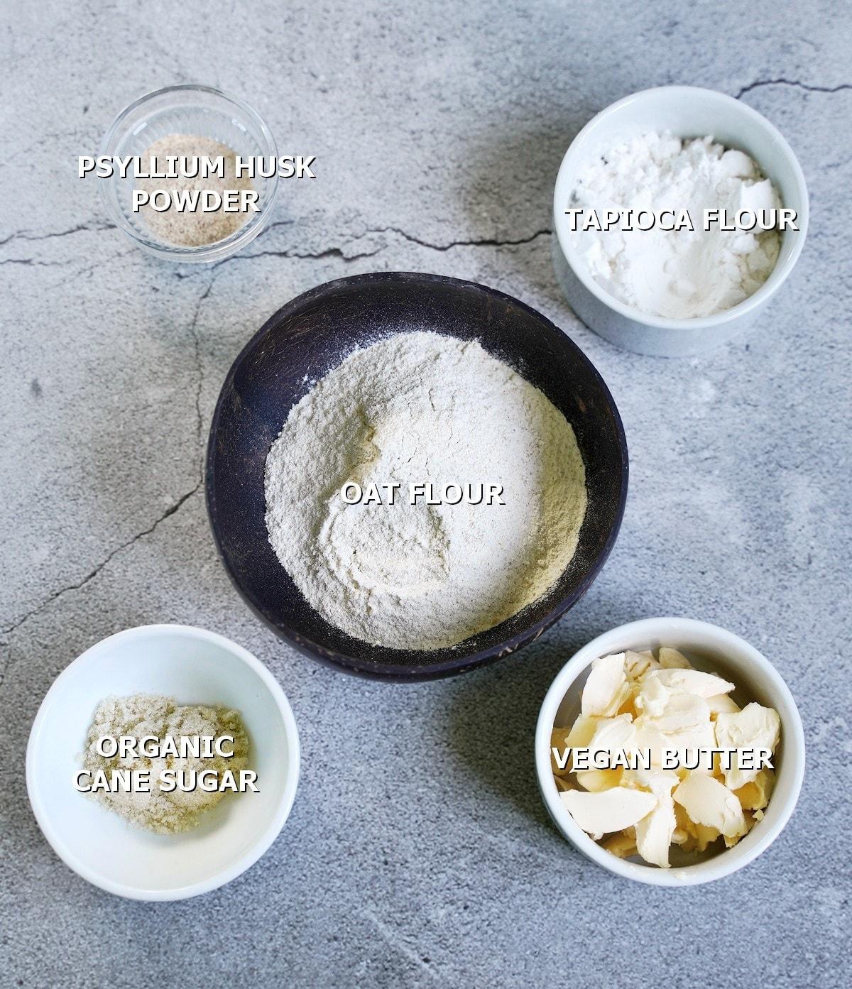 ingredients for vegan pastry