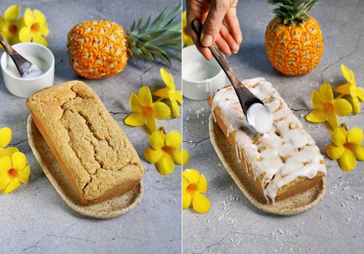 Ananaskuchen vor und nach der Glasur
