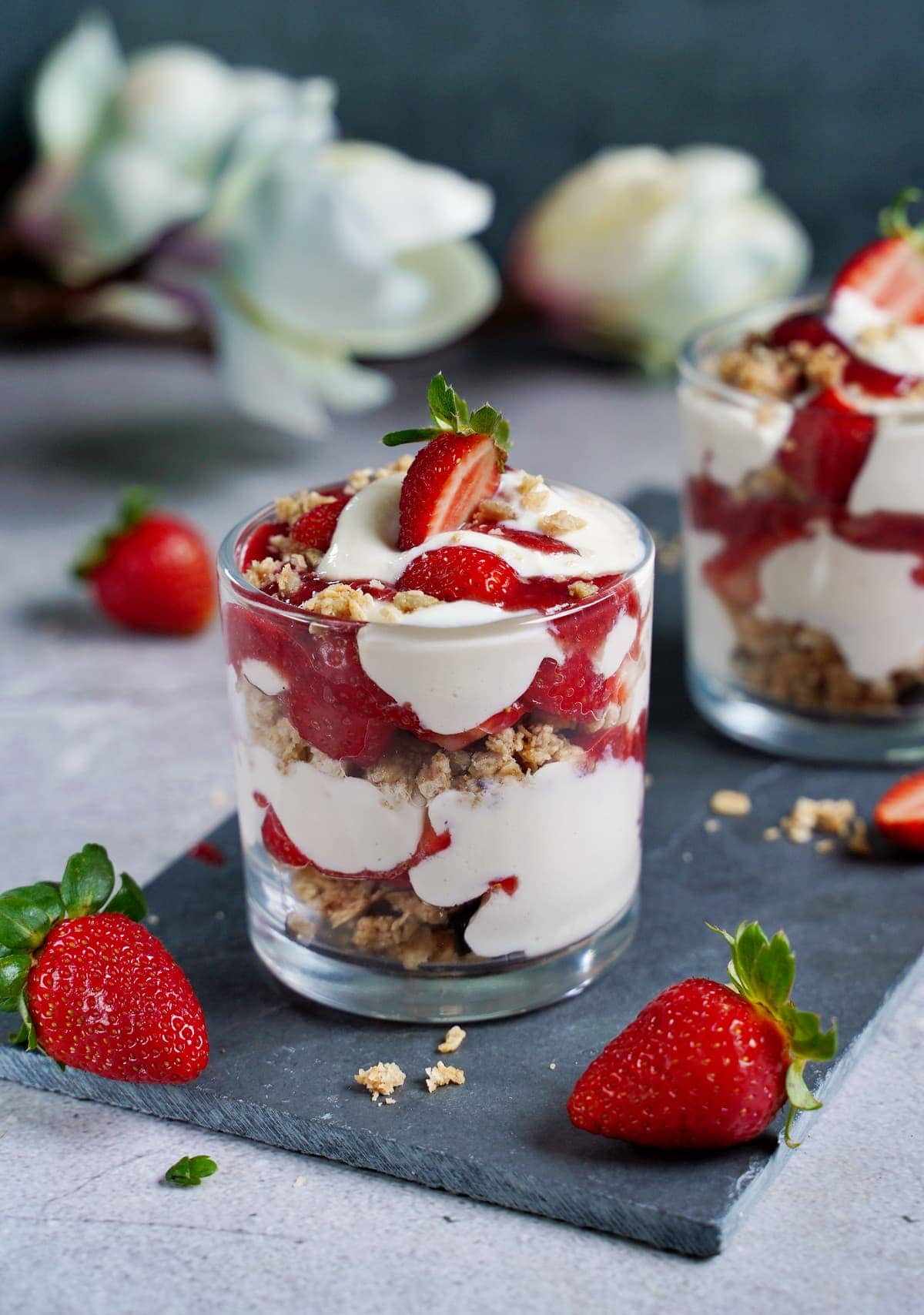 the best strawberry parfait in jars with granola and compote