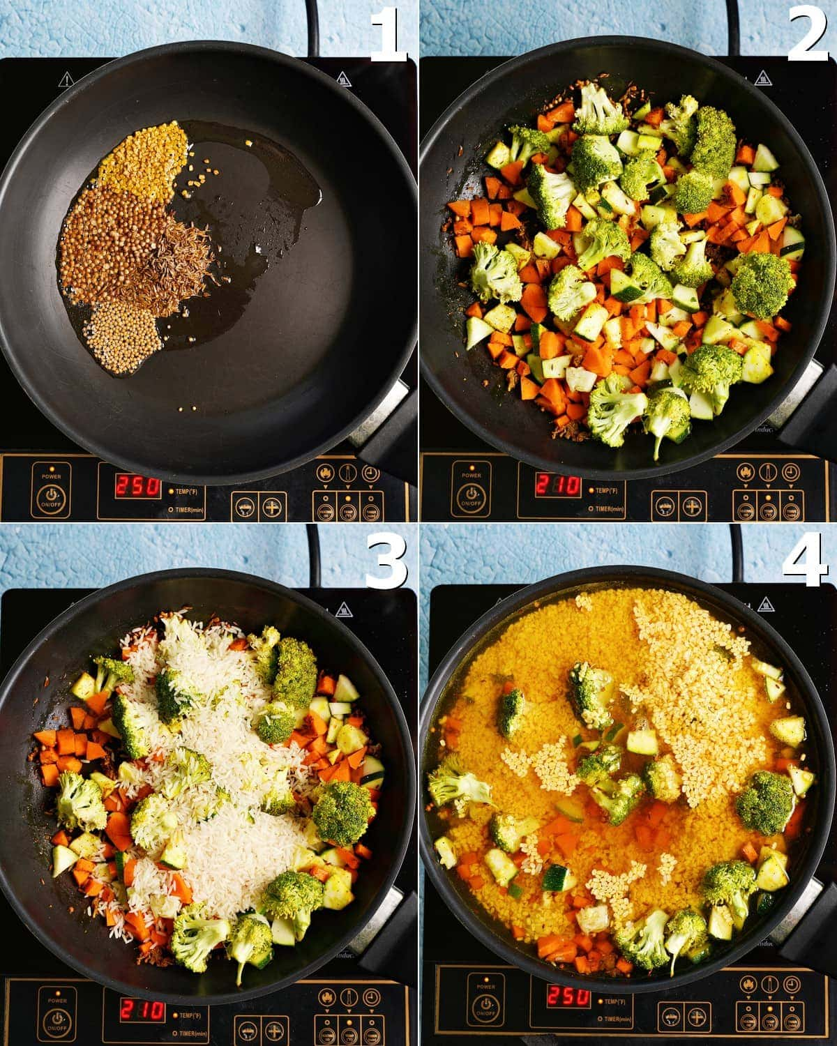 4 step-by-step photos how to cook a moong dal dish in a black pan