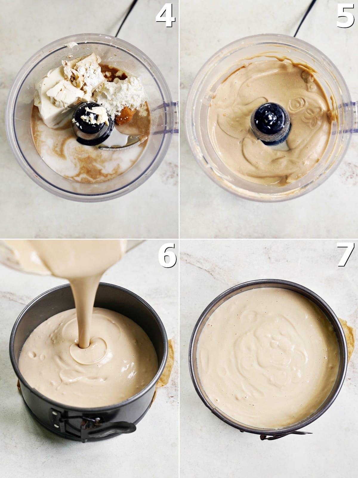 4 Schritt-für-Schritt-Fotos von der Herstellung einer cremigen Käsekuchen-Creme