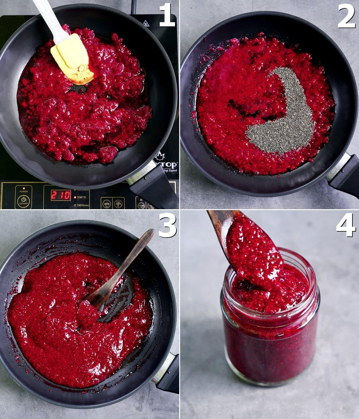 4 step-by-step photos how to make chia compote