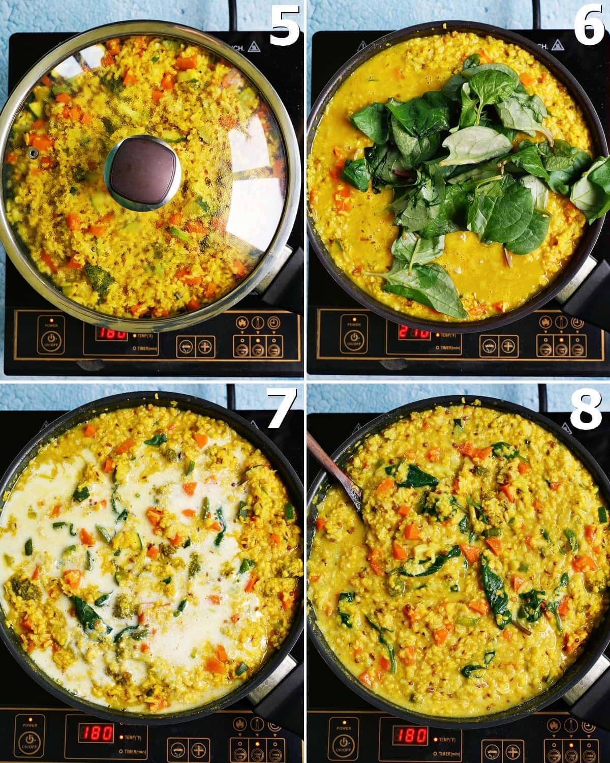 4 step-by-step photos how to make kitchari in a black pan