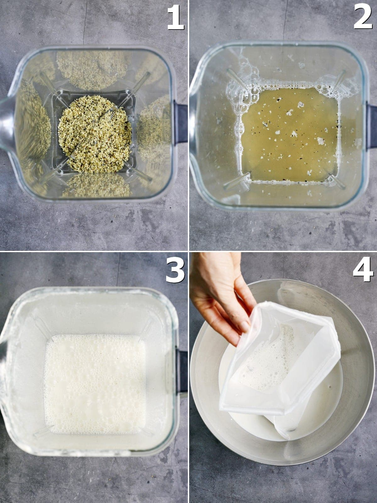 4 step-by-step photos of how to make vegan mylk