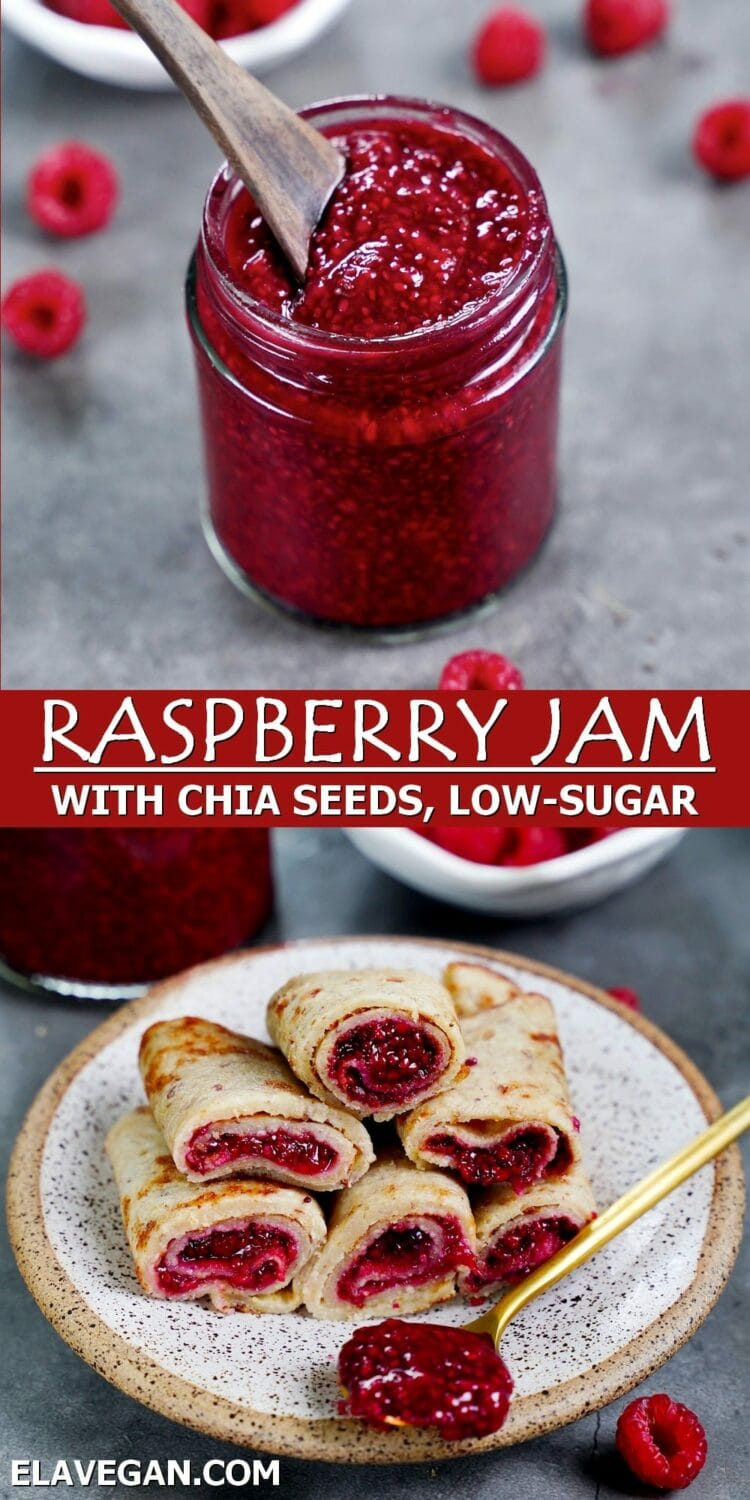 Pinterest Collage Raspberry Jam with chia seeds, low-sugar